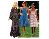 1970s Sundress Pattern Ruffle Shawl Flat Straps Maxi or Day Flat Straps Summer Sun Dress Simplicity 7332 Jr Bust 32 Vintage Sewing Pattern