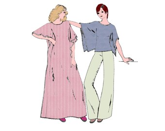 1970s Caftan or Top and Pants Pattern Super Easy Pullover Dress Pull On Pants Stretch Knit Simplicity 7211 Bust 34 Vintage Sewing Pattern
