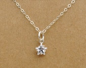 sterling silver star necklace, bridesmaid gift, - TINY STAR - delicate everyday wear, star necklace, crystal star
