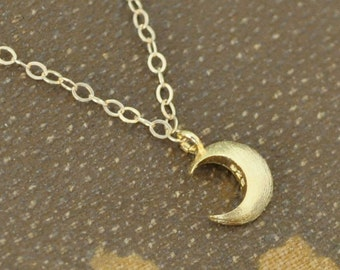 moonlit, moon crescent,  YELLOW MOON, gold layering necklace, small moon charm, moonlight, under the moon, night,