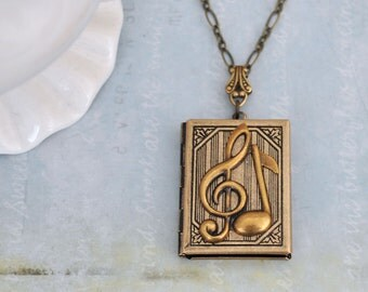 antiqued brass locket necklace, THE G-CLEF, music notes necklace, music lover locket, book locket, gift for musician