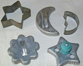 Vintage Tin Cookie Cutters - Sun, Moon & Stars - Baking - Crafts