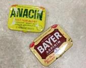 Aspirin tins Bayer and Anacin vintage