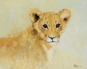 Original oil painting - wildlife art - portrait of a lion cub - by UK artist j Payne