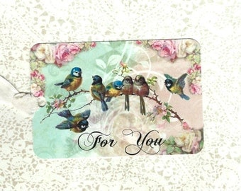 Tags, Bird Tags, Gift Tags, For You, Roses & Birds