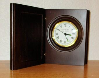 Danbury Clock set in a Wooden Book  Presentation Vintage 1995