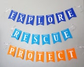 Octonauts Themed Banners for Birthday Parties, Explore Rescue Protect, Barnacles, Peso, Kwazii, Wall Sign, Octonauts, Octonauts Party Theme