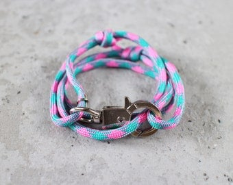 Cord Tiga - blue pink bandung paracord cord wrap bracelet with silver metal clasp, unisex, adjustable size, limited edition