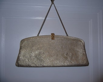 Super Slim Gold Cloth  Clutch Bag with Chain Handle