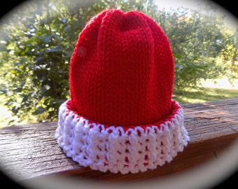 baby hat handmade size 3-9 / 9-18 / 12-24 months red and white colors