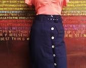 1980s Vintage Womens Clothing. Pencil Skirt. Vintage High Waisted Skirt. Vintage Belt. Warwick Jones. Slim fitting Skirt. Metal blue.