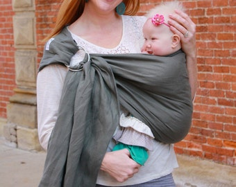 Cool Linen Ring Sling Baby Carrier - Gray -Instructional DVD Included - Pleated Shoulder for Comfort - Supportive for Newborns to Toddlers