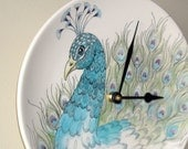 SILENT Peacock Wall Clock, Peacock Home Decor, Ceramic Plate Wall Clock, Kitchen Clock, Unique Wall Clock, Gift for Woman, Gift for Mom 1951