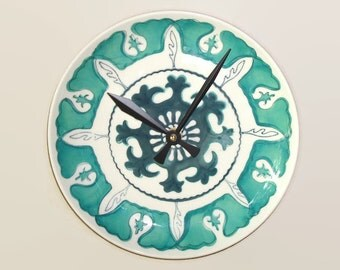 Sea Green and White Medallion Wall Clock - Plate Clock - Kitchen Clock - Teal Home Decor - Unique Wall Decor  - 1750