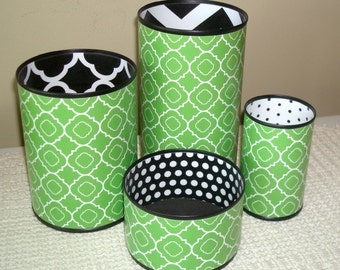 Dorm Decor, Fun Desk Accessories, Storage and Organization, Pencil Holder Set, Pencil Cup, Chevron and Polka Dots Desk Accessory Set - 830