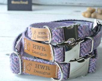Harris Tweed Dog Collars,  Lavender  Tweed Dog collar,Purple Herringbone Tweed Dog Collar. Designer dog collar
