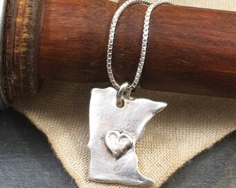 Minnesota Love Hand Crafted Necklace - MN Made - Pure Silver Necklace