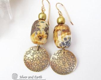 Agate Earrings, Gold Dangle Earrings, Brass Earrings, Natural Stone Earrings, Gold Earrings, Artisan Handmade Boho Bohemian Tribal Jewelry