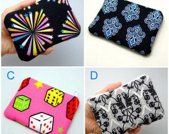 BIG SALE - Small zipper pouch / coin purse /ear phone bag/ card holder (padded) (GP8)