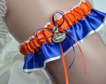 Florida Gators Theme- Bridal Keepsake Garter -Wedding Keepsake Garter -Bridal Garter Sport Garter