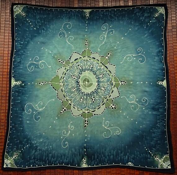 Teal Green Flower Mandala Hand Painted Silk Tarot Cloth