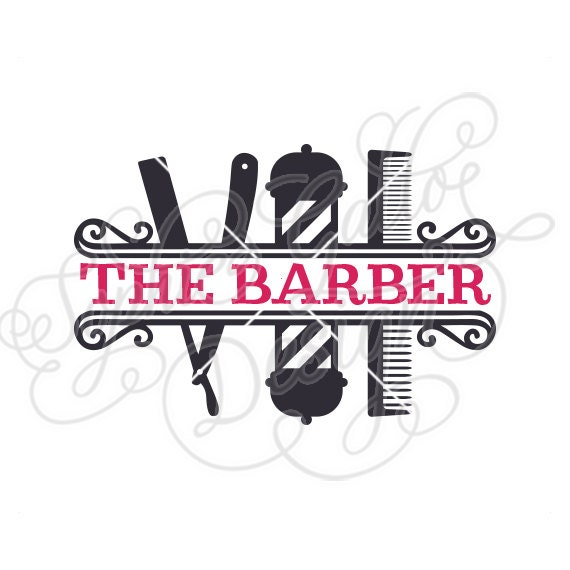 Barber Shop Split Monogram SVG DXF PNG digital download file