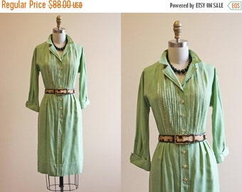 ON SALE Vintage 1950s Dress - 50s Dress - Green Pintucked Cotton Shirt Dress w Rhinestones S - Sing to Me