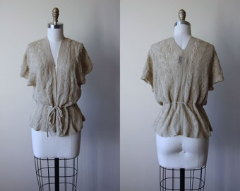 1970s Sweater - Vintage 70s Deadstock Oatmeal Cable Knit Crochet Batwing Ballet Shawl - Escapade Shrug