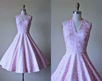 50s Dress - 1950s Vintage Dress - Candy Pink Floral Embroidered Halter Circle Skirt Cotton Party Sundress XS S - Jerry Gilden Dress