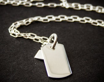 Sterling Silver Dog Tag Necklace.  Dog Tag Necklace.  Sterling Silver Chain.  Men's Accessories.  Gift.  RedCat.