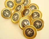 Crest blazer buttons, 12 silver & black on brassy gold, new-old-stock buttons, heavy blazer and suit buttons, fancy European vintage buttons