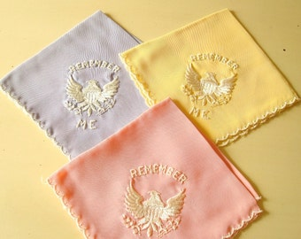 "Remembrance hankie, vintage 1930-40s WWII sweetheart handkerchief, choose yellow, pink, periwinkle blue, ""Remember Me"" embroidered keepsake"