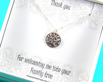 Mother of The Groom  Mother Of The Bride Gift, Mother in Law Necklace, Family Tree Sterling Silver Necklace, Gift Boxed Jewelry