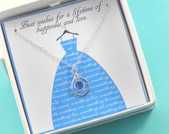 Bride Necklace Something Blue, bride jewellery, bride necklace,Gift Boxed Jewelry Thank You Gift
