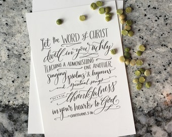 Colossians 3:16 - Hand-Lettered Scripture Print - Bella Scriptura Collection from Paperglaze Calligraphy