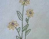 Black-eyed Susan tea towel-hand stitched