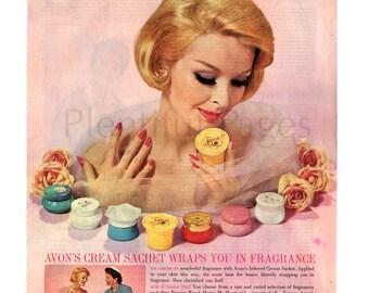 1960 Avon Vintage Ad, 1960's Beauty, Retro Beauty, Cream Sachet, 1960's Avon Lady, Advertising Art, Avon Fragrance, 1960's Fashion.