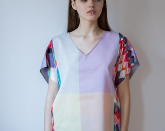 SALES Luxury Recycling ECO-friendly Unique Silk Cotton Loose Fit Patchwork Lilac Pink Multicolor TOP