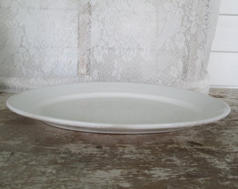 White ironstone Platter Larger Ironstone Platter Simply White Country Farmhouse Rustic Prairie Cottage Chic Victorian White Decor Wedding
