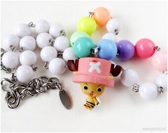 Tony Tony Chopper Necklace, Pastel, Beaded, Stainless Steel, One Piece Anime, Kawaii Jewelry