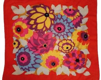 Vintage 1960s Liberty of London Mod Floral Print Wool Scarf