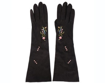 1950s Black Suede Gloves - Embroidered - Made in France - 7 1/4
