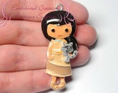 "2"" Pocahontas With Raccoon Friend Inspired Charm, Chunky Pendant, Keychain, Bookmark, Zipper Pull, Chunky Jewelry, Purse Charm"