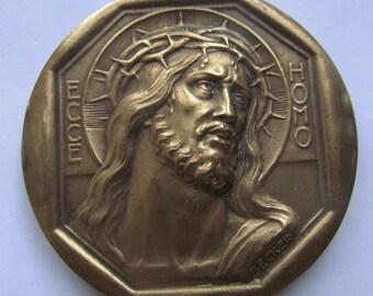 Antique Jesus Ecce Homo Shroud Of Turin French Religious Art Medal Signed Becker