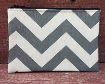 Zipper Pouch Gray Chevron Handmade in Iowa