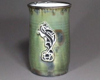 Celtic Knot Dragon Stamped Green Brown Blue Crystalline Glazed Porcelain StampedTrinity Kont Large Beer Mug Stein