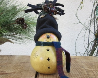 Christmas Gourd Snowman Winter Holiday Primitive Decoration