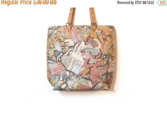 BTS SALE Vintage 90s Pastel Abstract GRAFFITI Art Tote Purse Shoulder Purse w Leather Accents