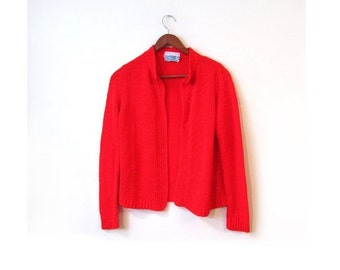 BTS SALE Vintage 80s APPLE Red Knit Cardigan Sweater xs s