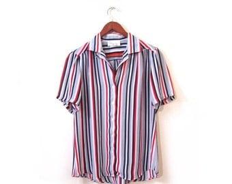 BTS SALE Vintage 80s Sheer Striped NAUTICAL Button Up Secretary Blouse m l